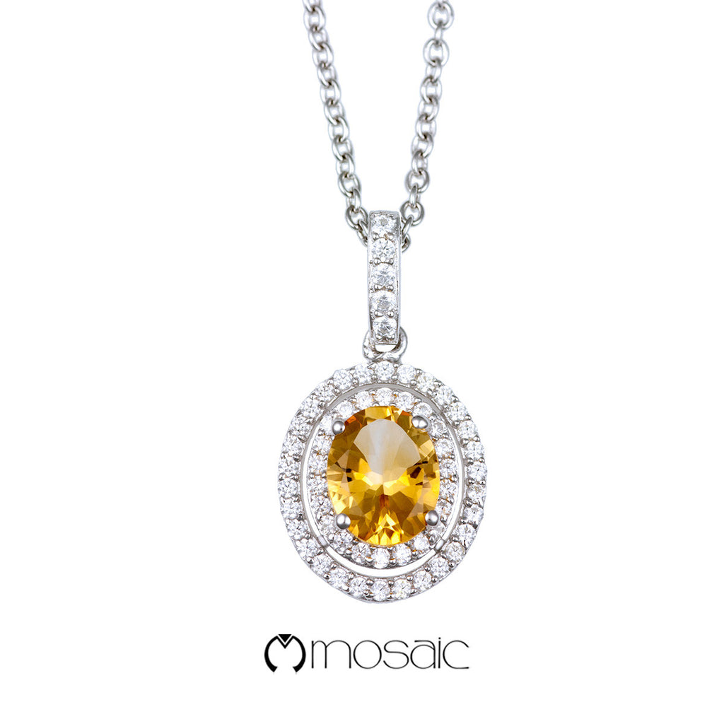 Fine Silver Double Oval Yellow Citrine Gemstone Drop Necklace - Mosaic Design Jewelry - 1