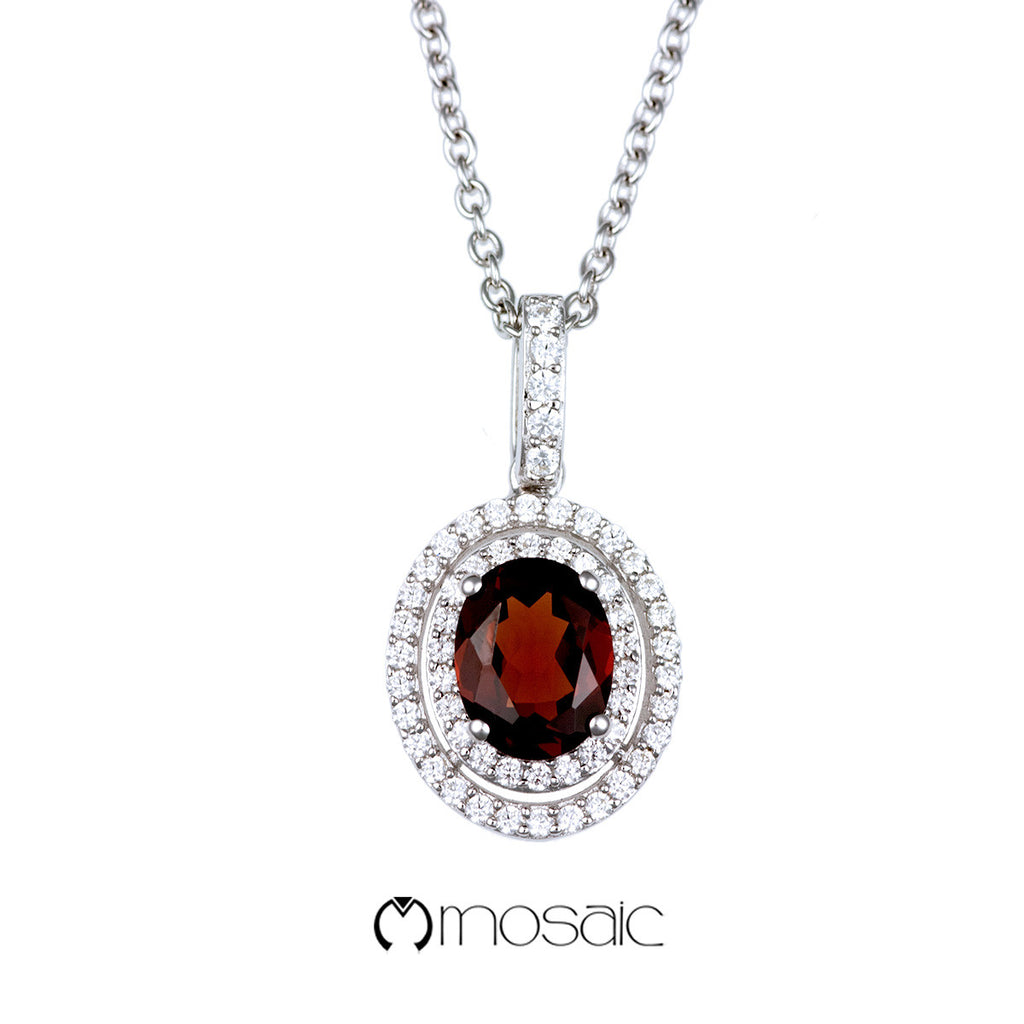 Fine Silver Double Oval Red Garnet Gemstone Drop Necklace - Mosaic Design Jewelry - 1