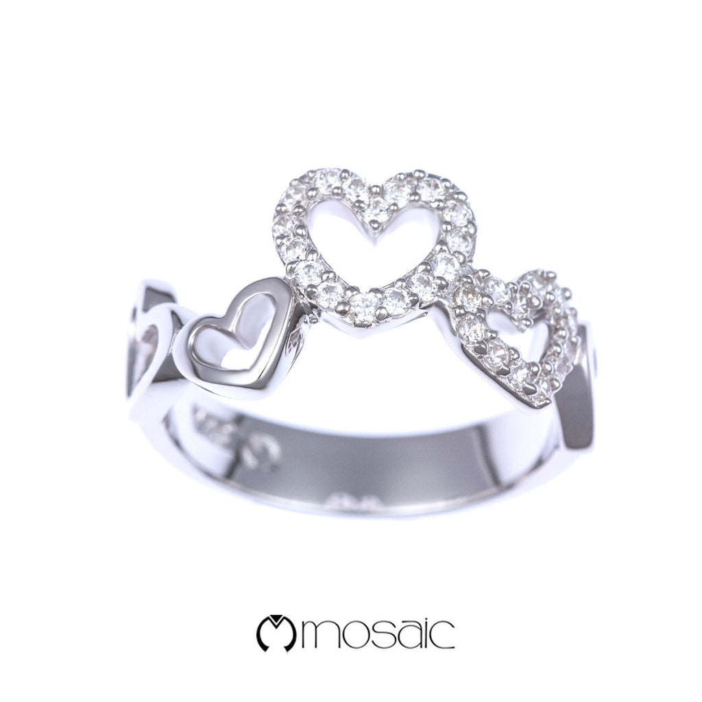 Fine Silver Romantic Heart Shape Ring - Mosaic Design Jewelry - 1