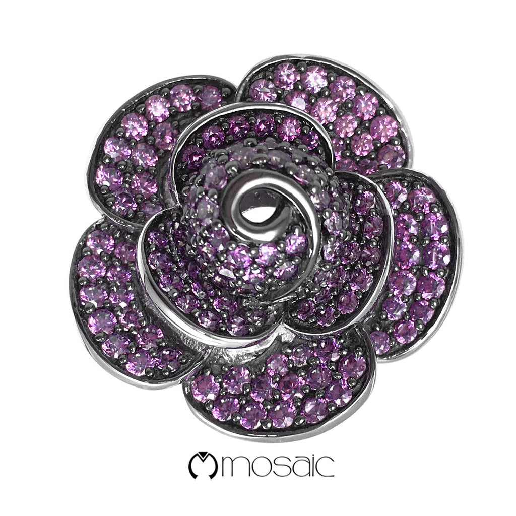 Purple Rose : Fine Sterling Silver Exquisite Purple Crystal Flower Ring - Mosaic Design Jewelry - 1