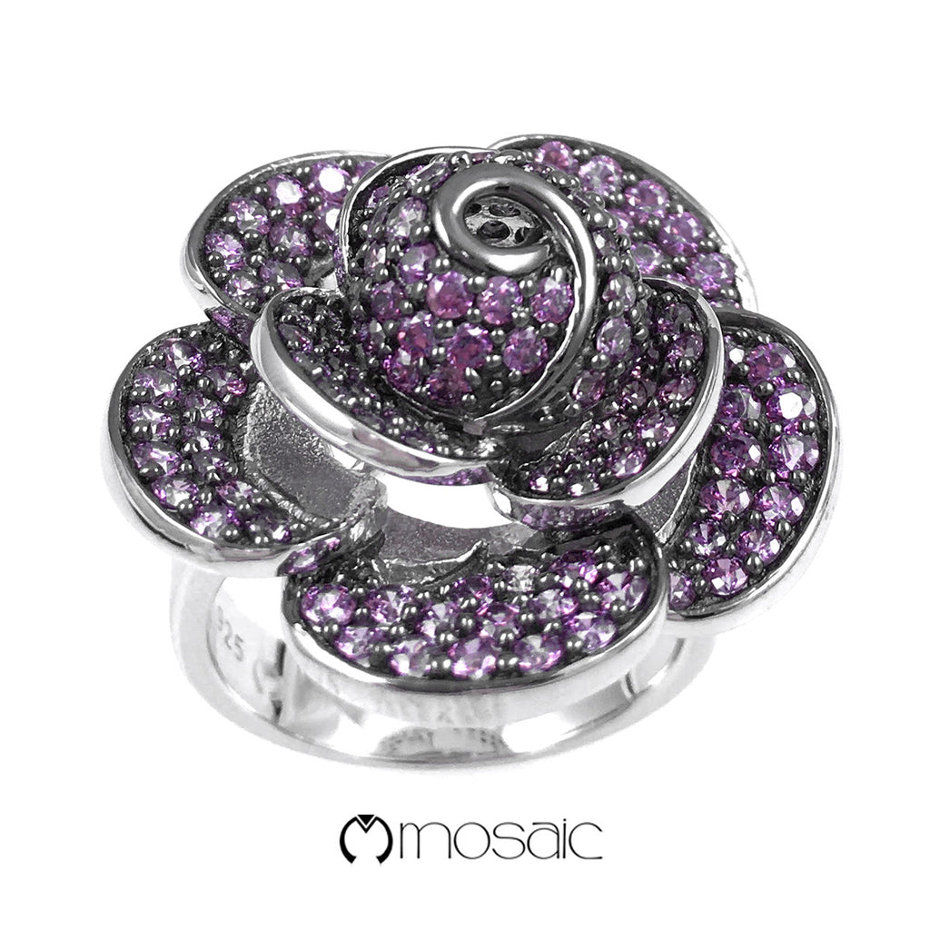 Purple Rose : Fine Sterling Silver Exquisite Purple Crystal Flower Ring - Mosaic Design Jewelry - 2