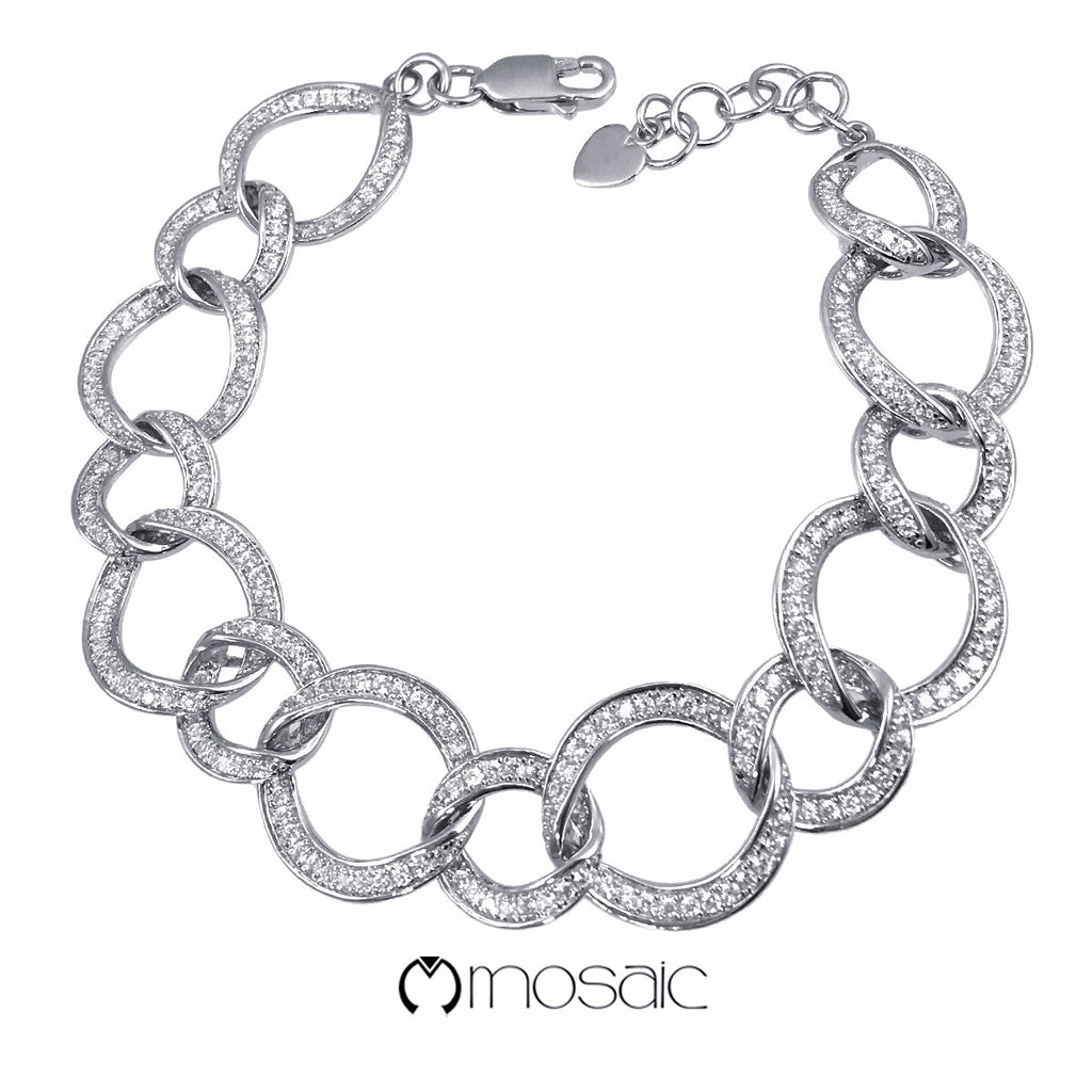 Fine Sterling Silver Bracelet with Rhodium Finished 451001070 - Mosaic Design Jewelry - 1
