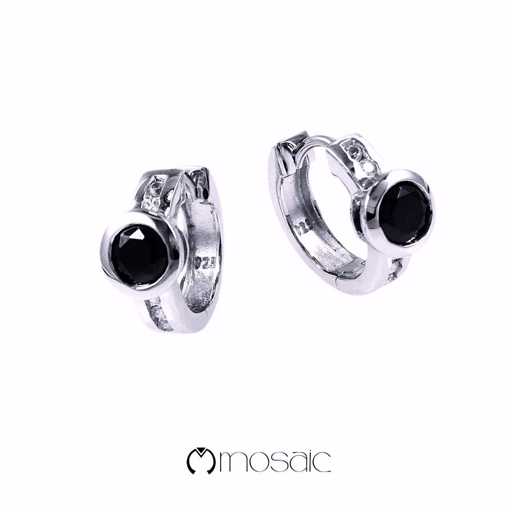 Black CZ Fine Sterling Silver hoop earrings with rhodium finished - Mosaic Design Jewelry - 1