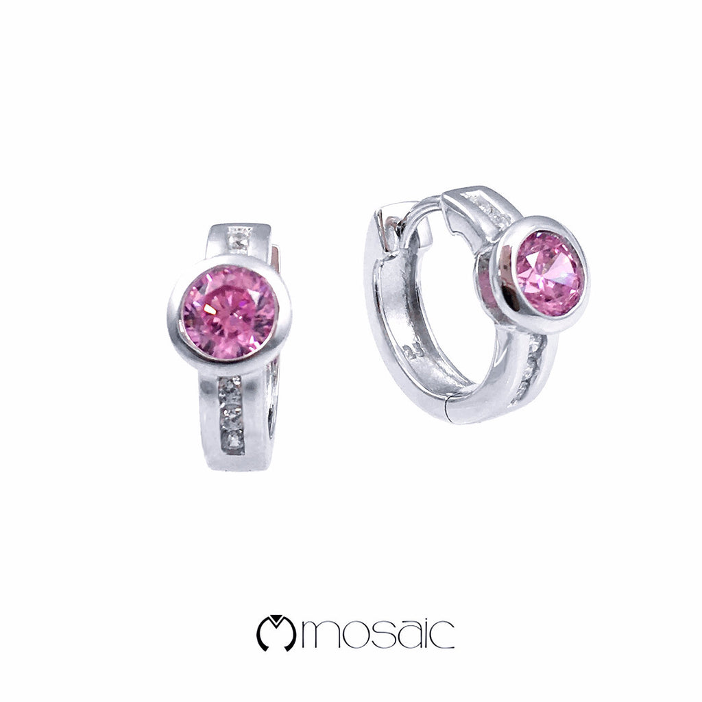 Pink CZ Fine Sterling Silver hoop earrings with rhodium finished - Mosaic Design Jewelry - 1