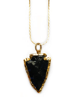 Black Obsidian Arrowhead Necklace