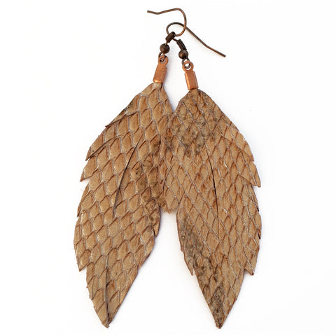 Leather Feather Earrings : Boa
