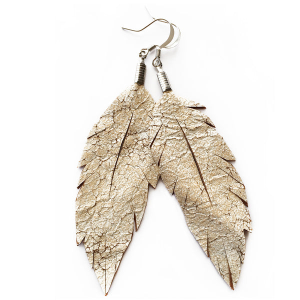 Leather Feather Earrings : Distressed