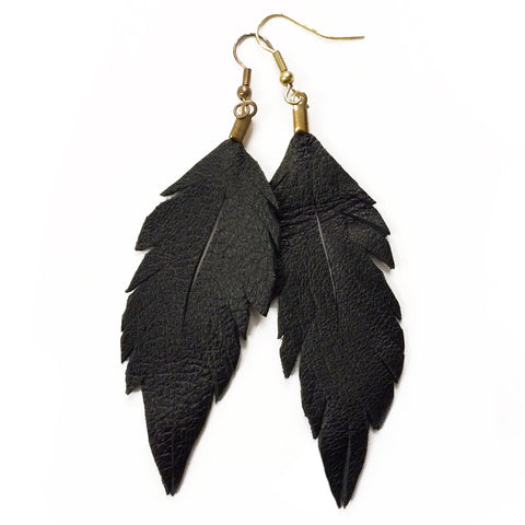 Leather Feather Earrings : Ebony