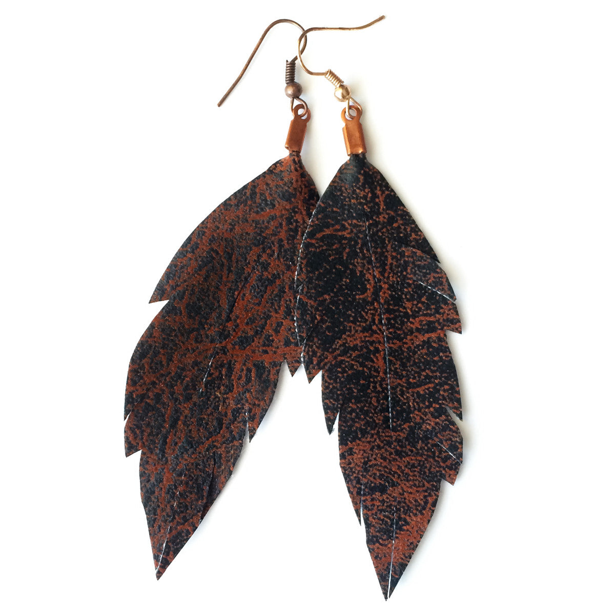 Leather Feather Earrings : Espresso