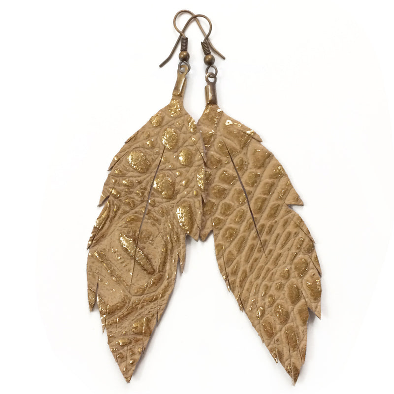 Leather Feather Earrings : Metallic Gold Crocodile