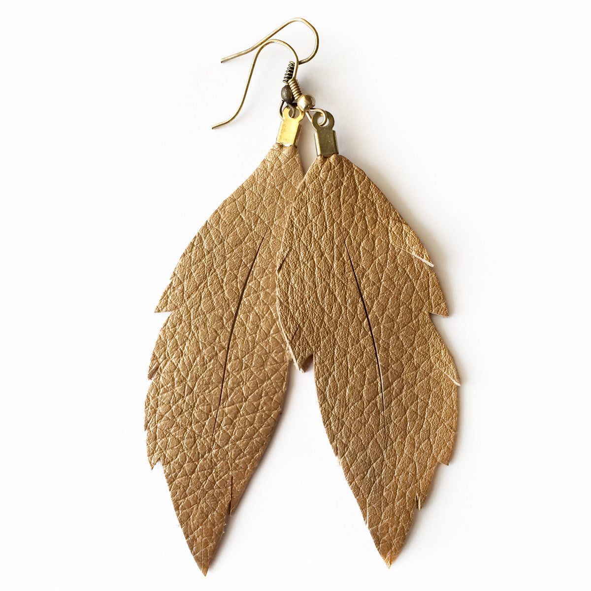 Leather Feather Earrings : Gold