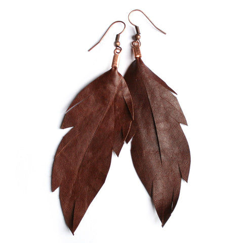 Leather Feather Earrings : Chocolate