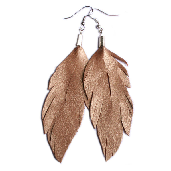 Leather Feather Earrings : Copper