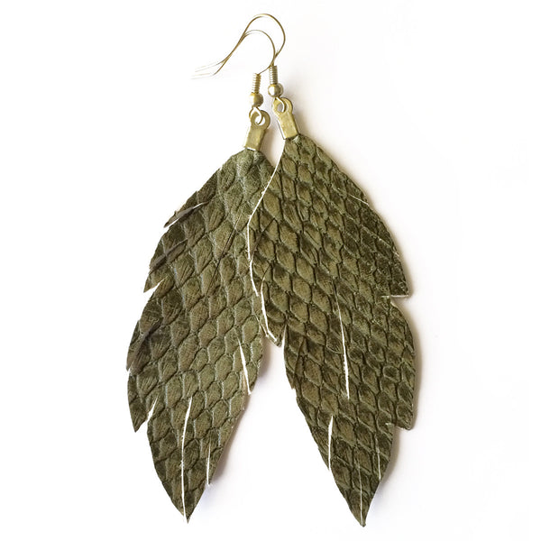 Leather Feather Earrings : Python
