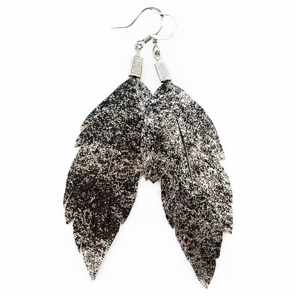Leather Feather Earrings : Metallic Silver