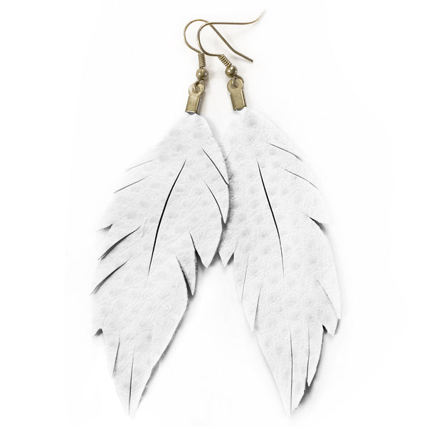Vinyl Feather Earrings : White Ostrich