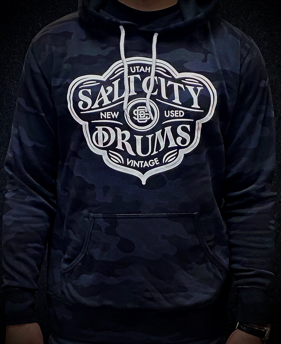 Salt City Drums Blem a Diddle Black Camo Hoodie w/ White Logo