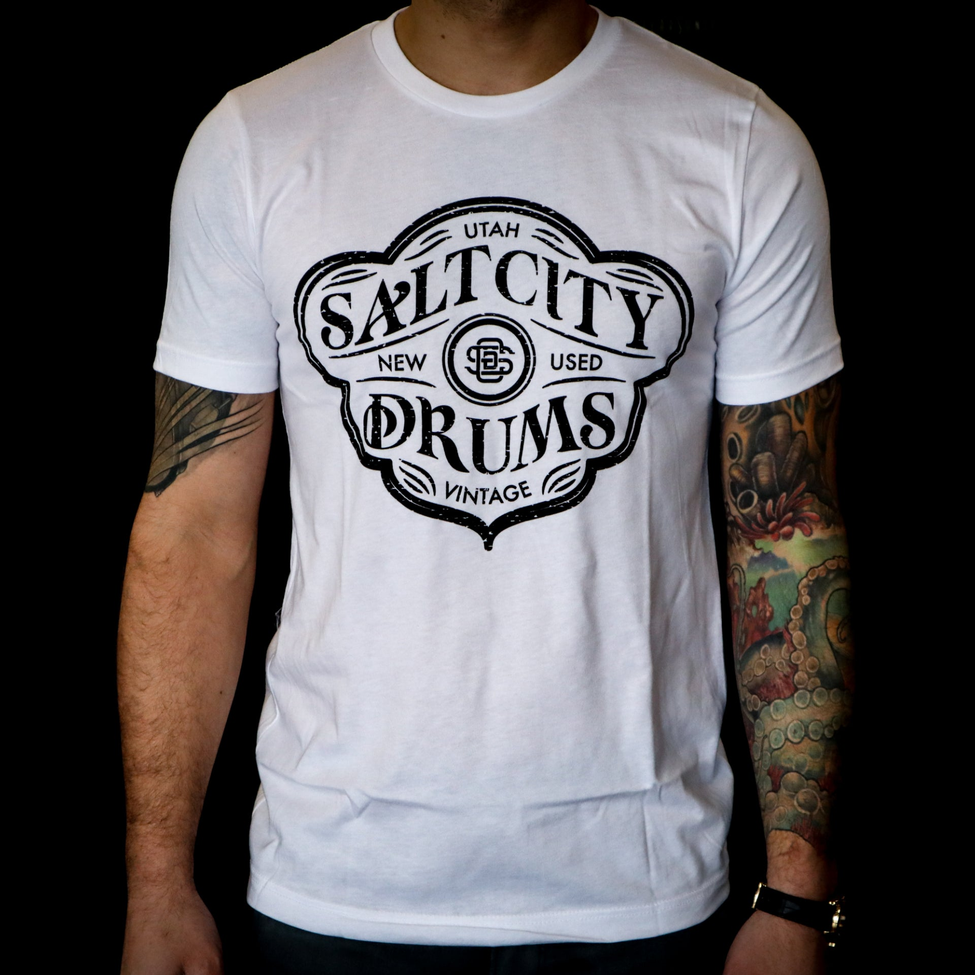Salt City Drums White Tee w/ Vintage Black Logo