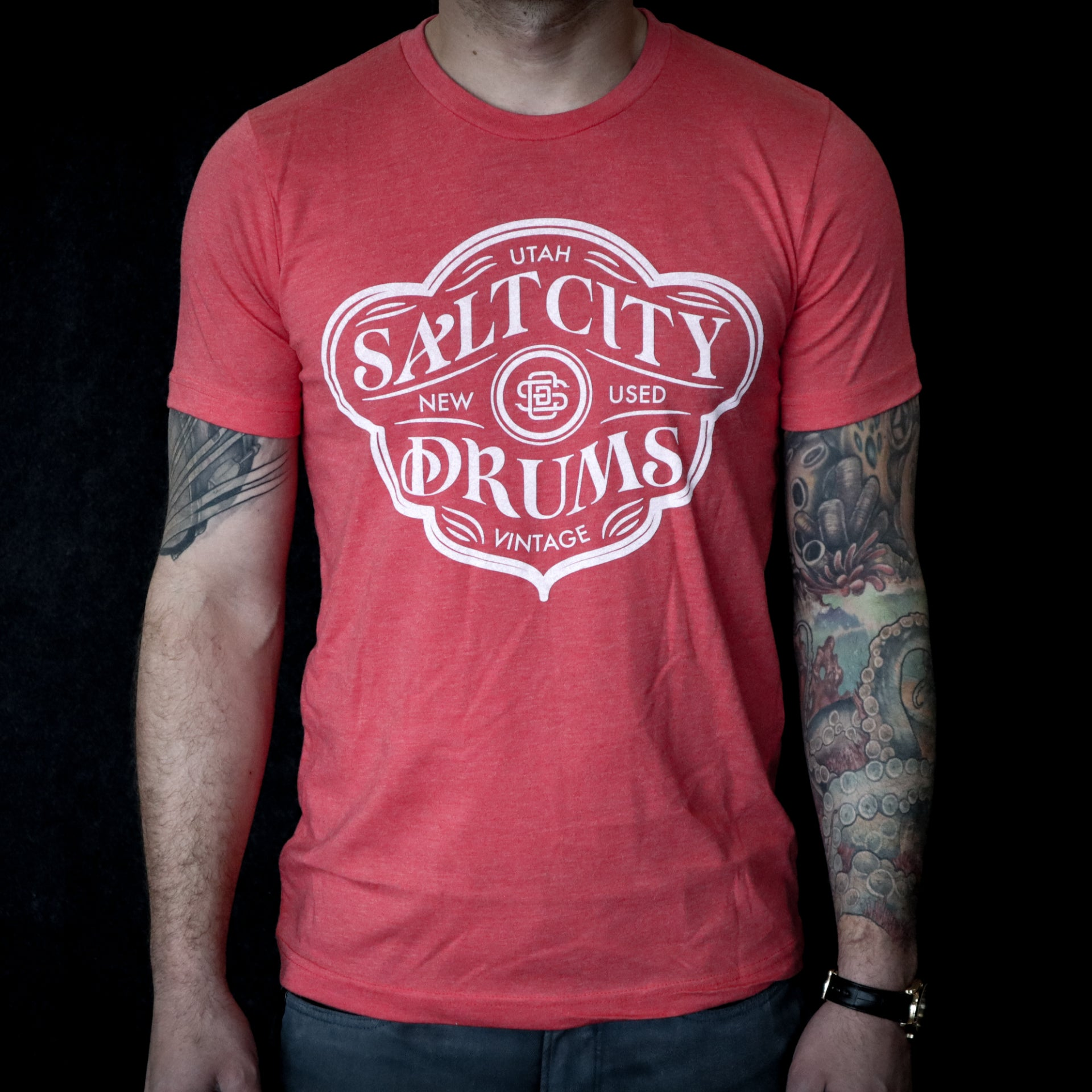 Salt City Drums Red Heather Tee w/ White Logo
