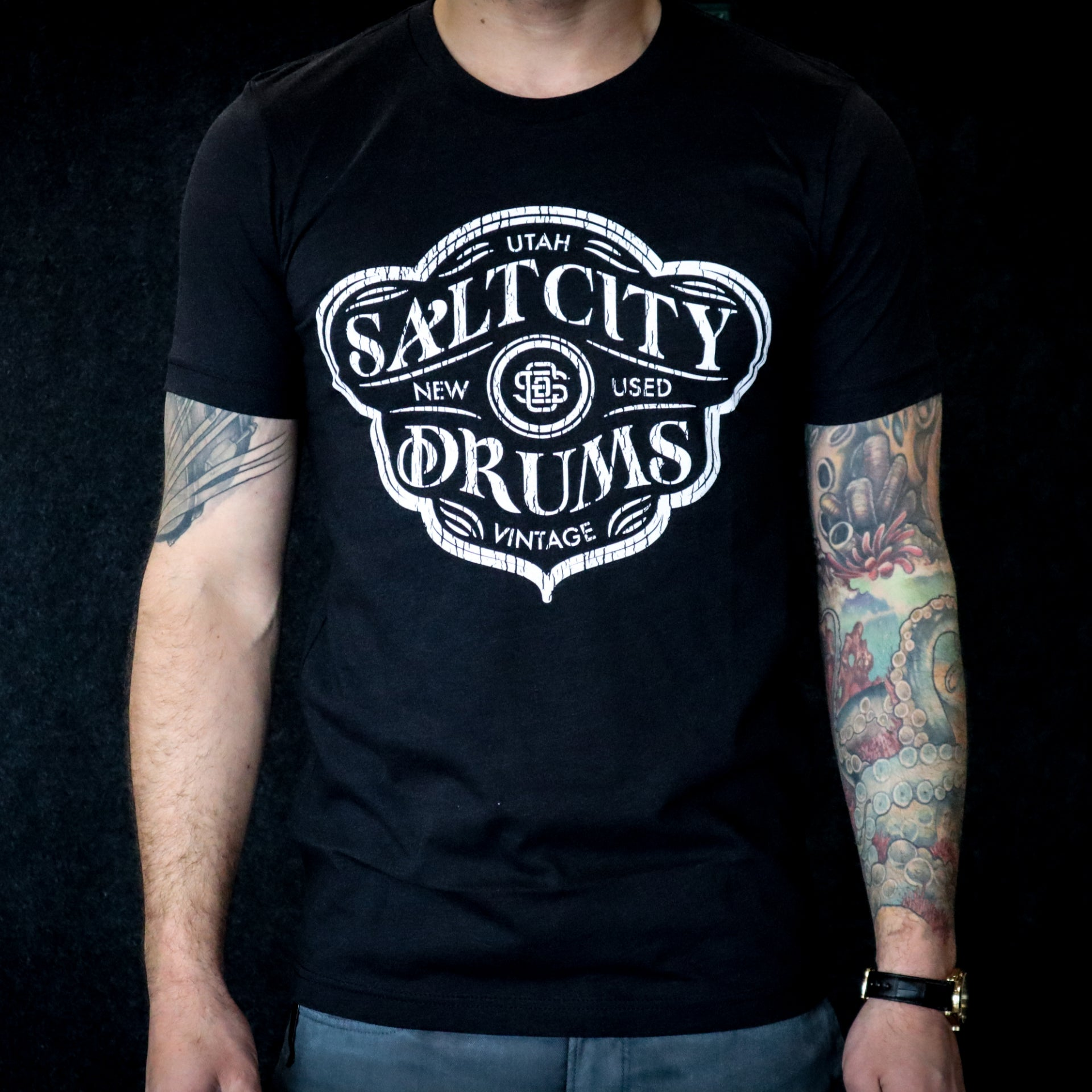 Salt City Drums Black Heather Tee w/ Vintage White Logo