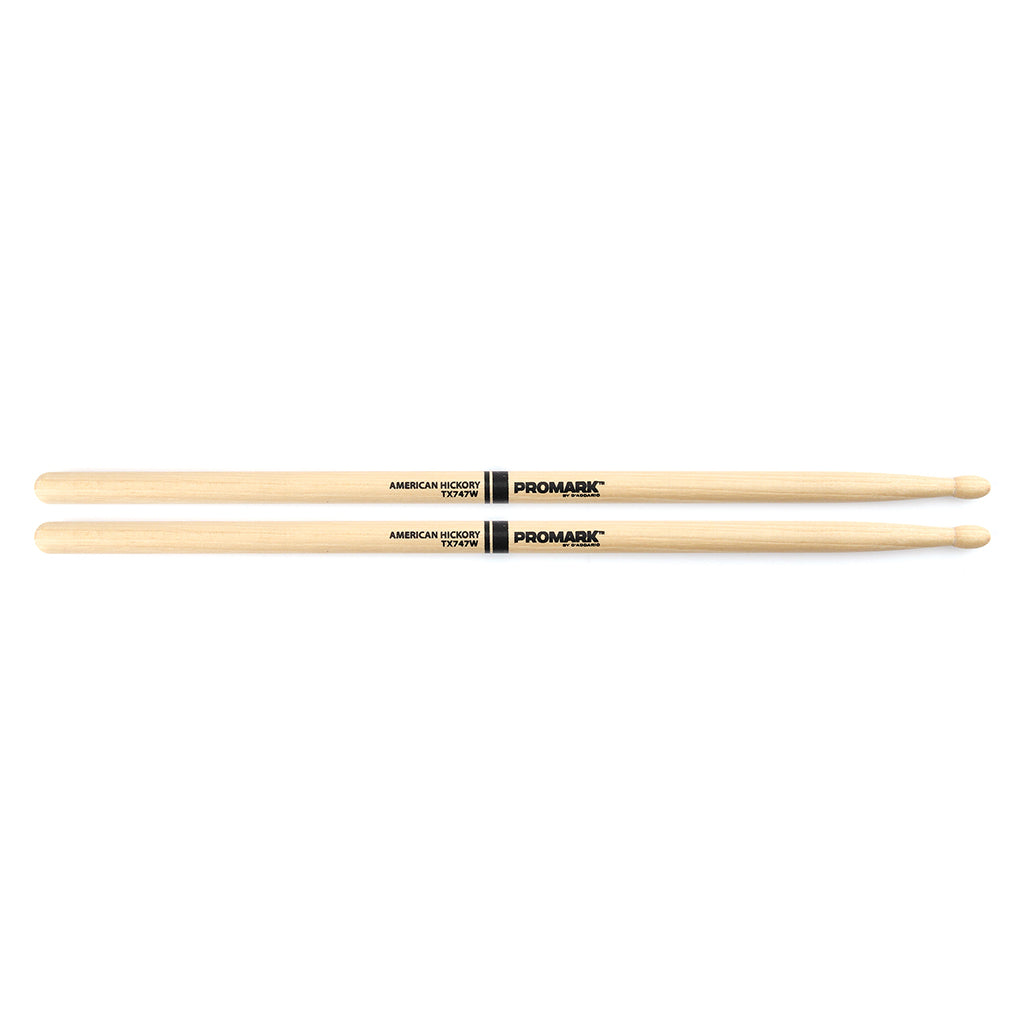 "Promark TX747W Hickory 747 ""Rock"" Wood Tip Drumsticks"