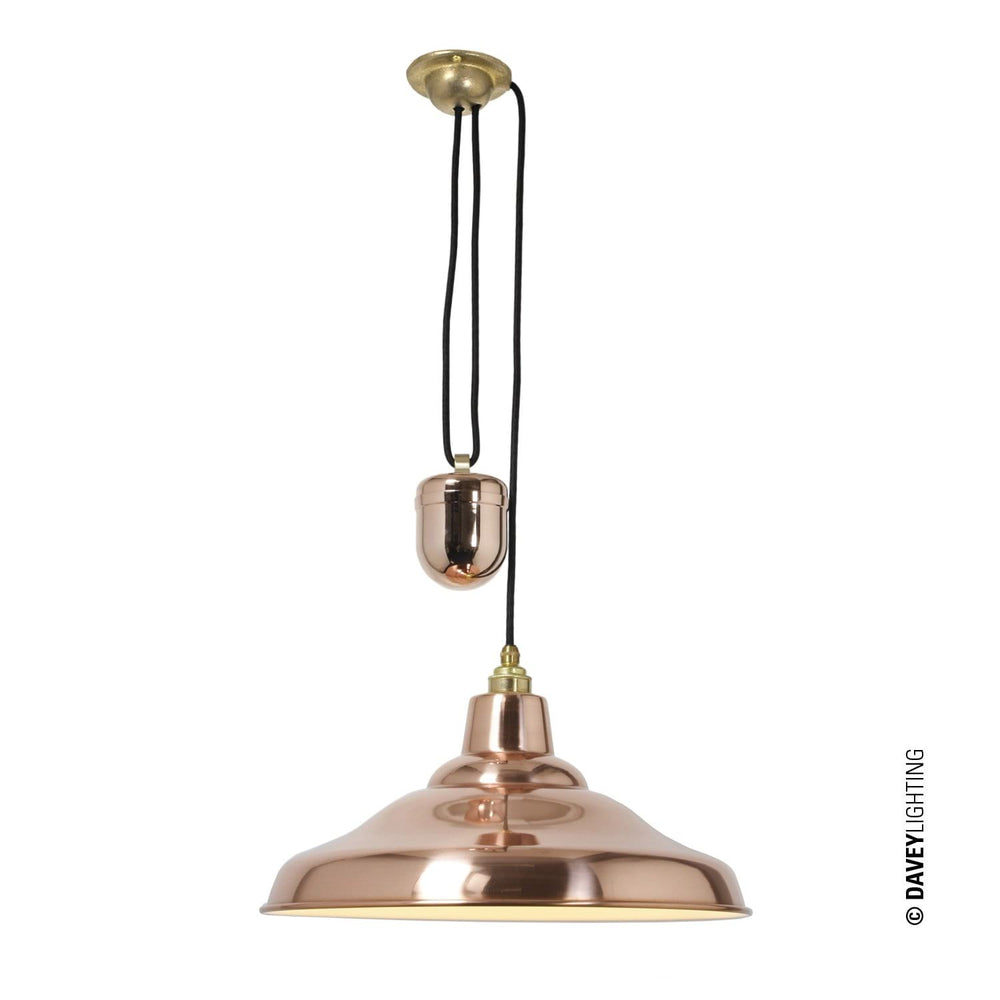Davey School light Rise & Fall Copper Ceiling Pendant Light* - Decolight Ltd