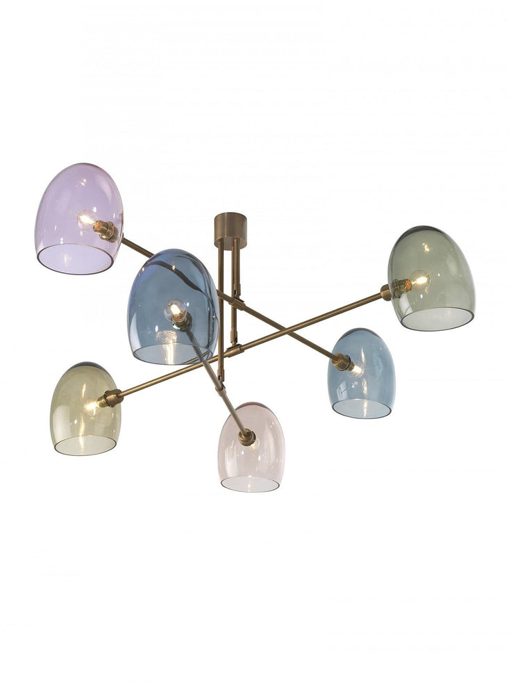 Heathfield Andromeda Ceiling Pendant Light Antique Brass with Glass Shades