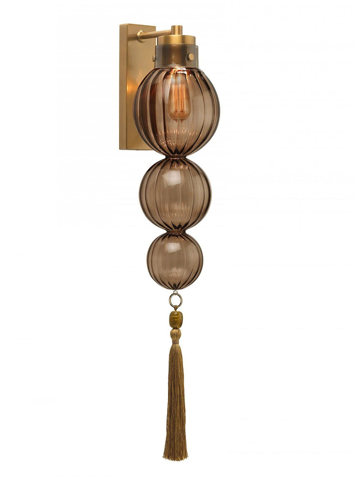 Heathfield Medina 3 Ball Smoke Brass  Wall Light