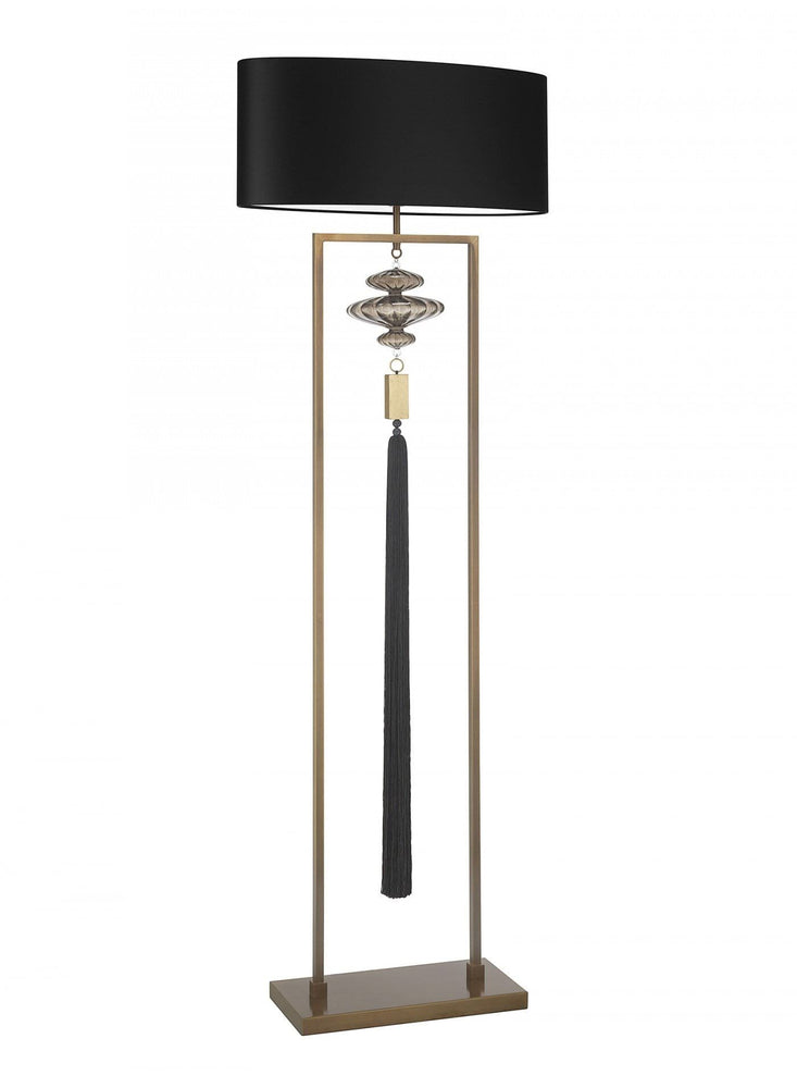 Heathfield Constance Antique Brass Black Floor Lamp* - Decolight Ltd
