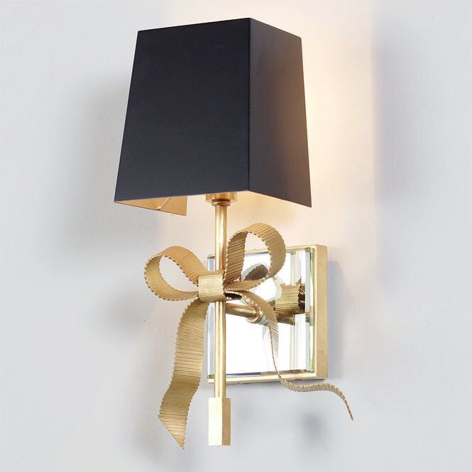 Decolight Ellery Small Bow Wall light Soft Brass Black Shade - Decolight Ltd