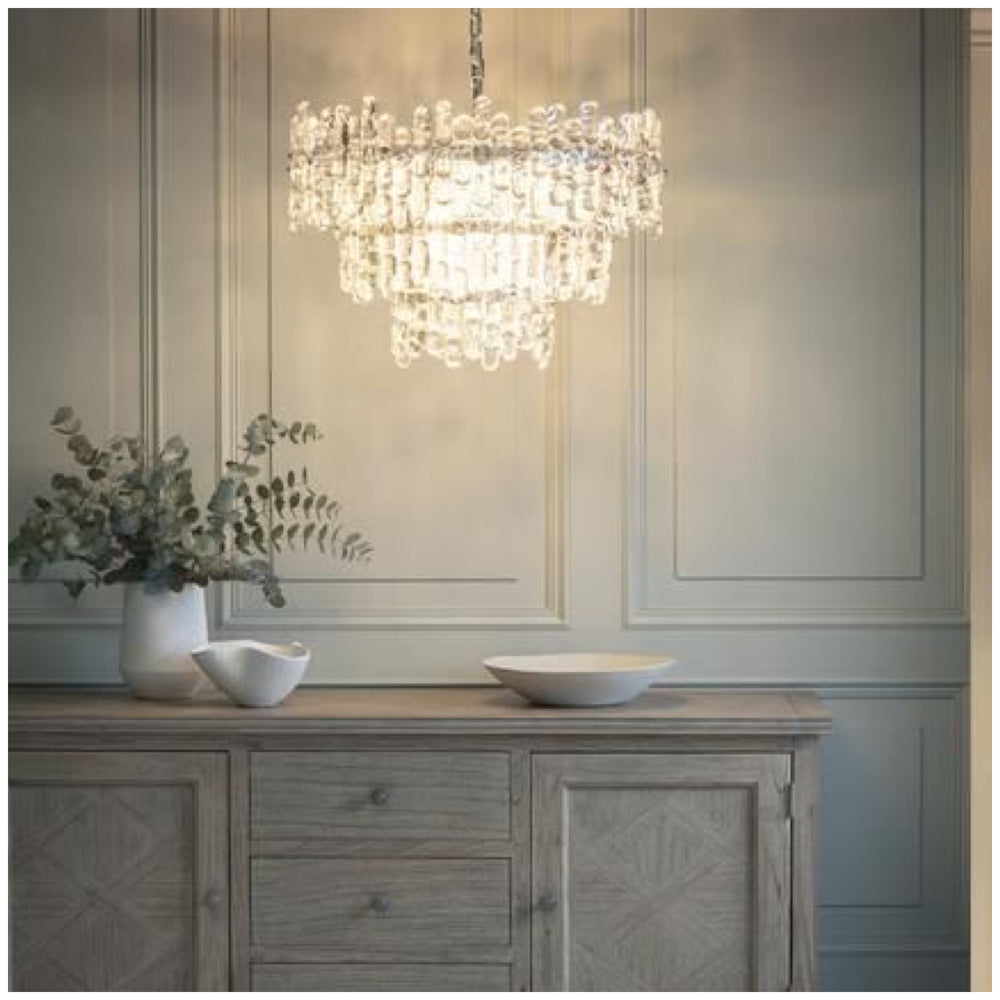 Decolight Elsa  3 Tier Crystalline Glass Chandelier Ceiling Pendant - Decolight Ltd