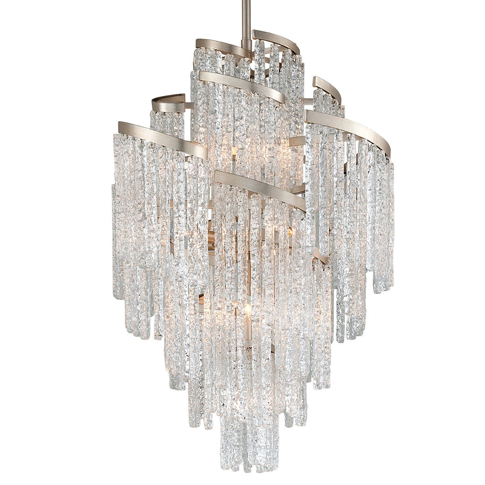Corbett Lighting Large Mont Blanc Modern Silver Leaf Ceiling Light - Decolight Ltd