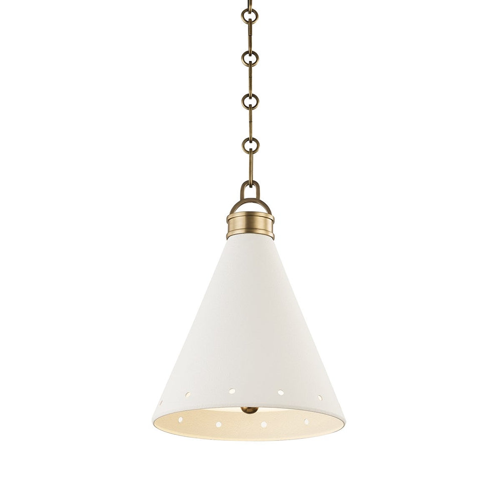 Hudson Valley Mark D. Sikes Small Plaster No.1 Aged Brass/White Plaster Ceiling Pendant - Decolight Ltd