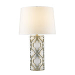 Arabella Distressed Silver Artisan Table Lamp Linen Lampshade