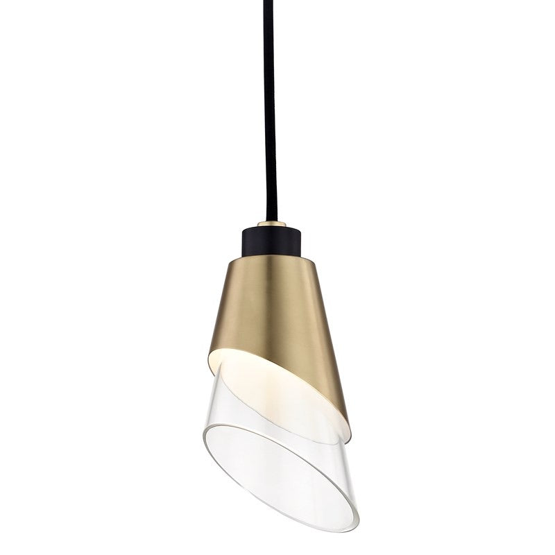 Mitzi Lighting Angie Aged Brass/Black Pendant Ceiling Light - Decolight Ltd