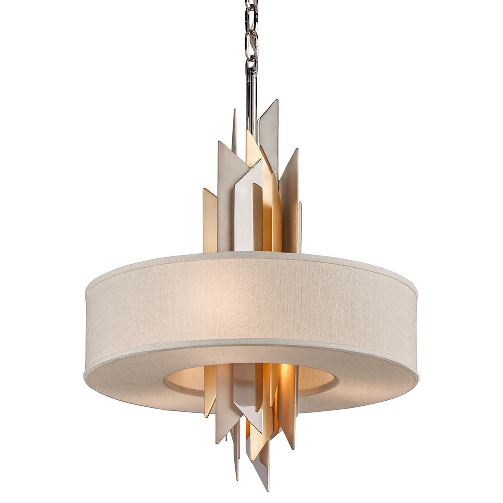 Corbett Lighting Modernist Small Polished Stainless Steel With Silver and Gold Leaf Ceiling Pendant