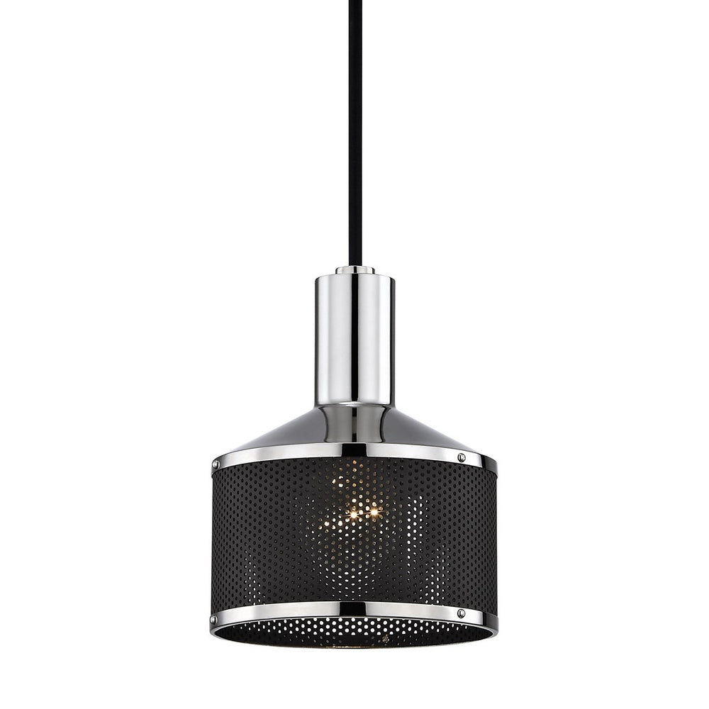 Mitzi Yoko Aged Polished Nickel/Black Pendant Ceiling Light - Decolight Ltd