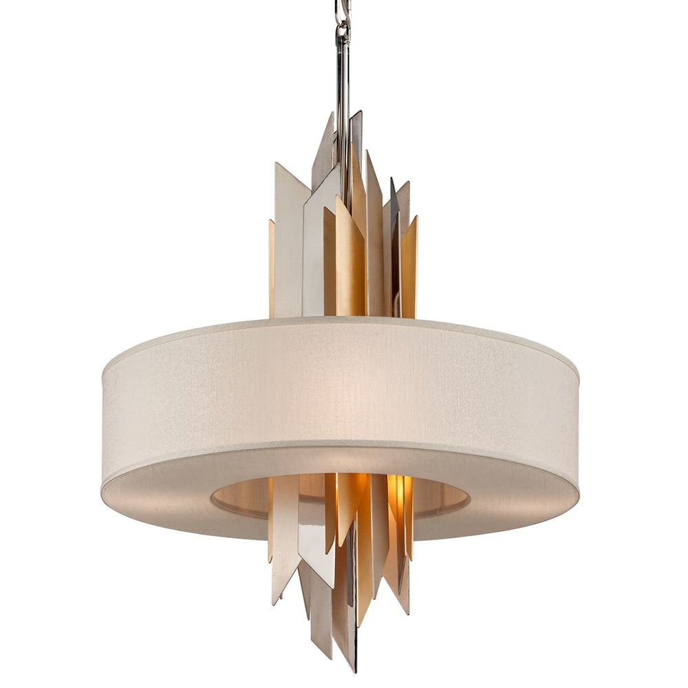 Corbett Lighting Modernist Large Polished Stainless Steel With Silver and Gold Leaf Ceiling Pendant - Decolight Ltd