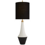 Neale Table Lamp in White Leather Black Shade