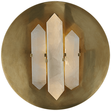 Kelly Wearstler Visual Comfort Halcyon Quartz Round Wall Sconce Brass