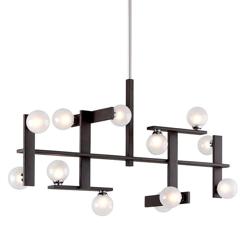 Hudson Valley Network Forest Bronze & Polished Chrom Ceiling Light