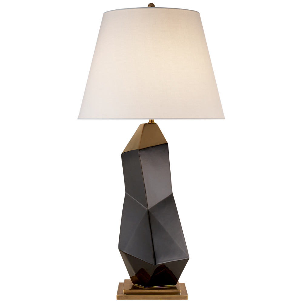 Bayliss Table Lamp in Black with Linen Shade By Kelly Wearstler - Decolight Ltd
