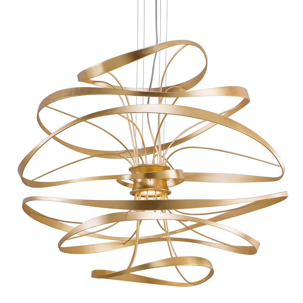 Corbett Lighting Calligraphy Gold Leaf With Polished Stainless Ceiling Light - Decolight Ltd