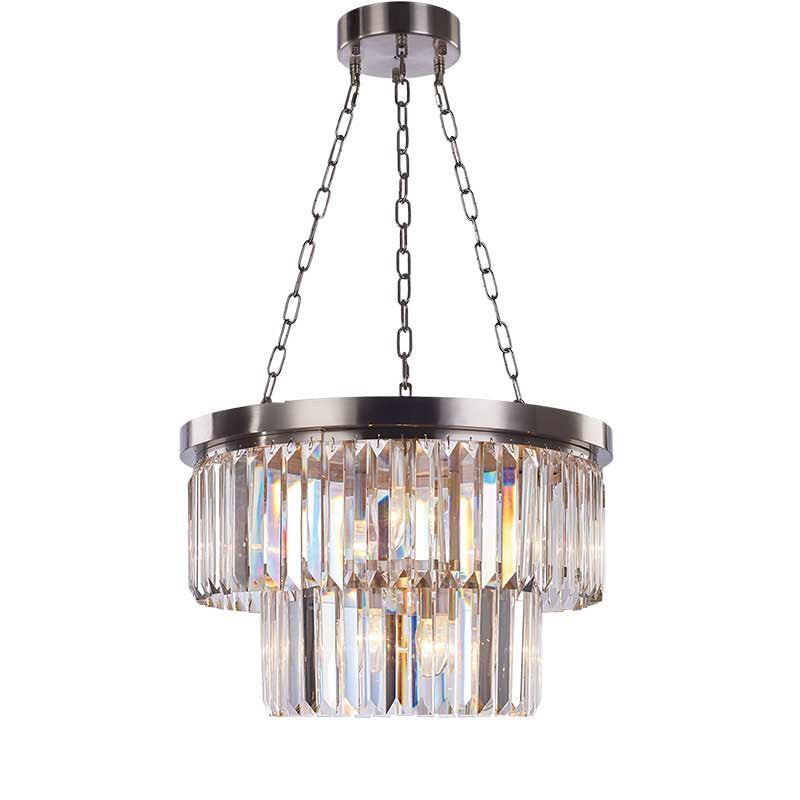 Decolight Round Double Tier Crystalline Chandelier Ceiling Pendant - Decolight Ltd