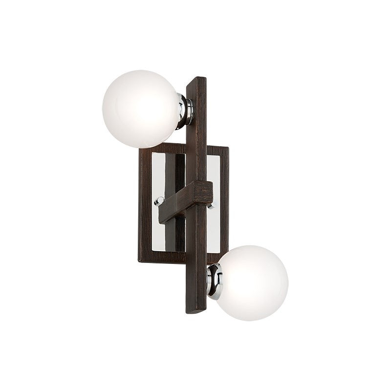 Troy Lighting Network Forrest Bronze And Polished Chrome Wall Light