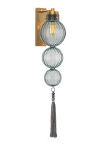 Heathfield Medina 3 Ball Opal Jade Brass Wall Light