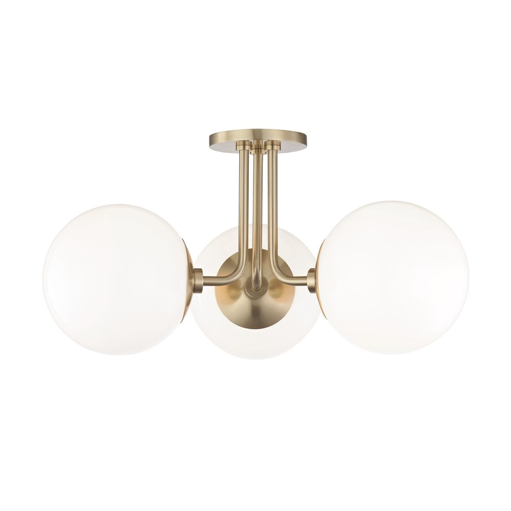 Mitzi Lighting Stella Old Brass Semi Flush Ceiling Light - Decolight Ltd