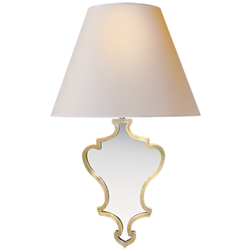 Madeline Small Mirrored Sconce in Natural Brass with Natural Paper - Decolight Ltd