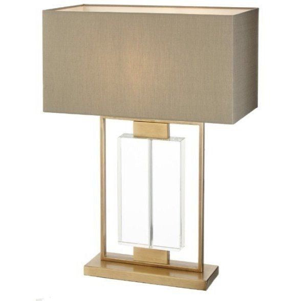 Decolight Ryston, Antique Brass Finish, Crystal Table Lamp  & Lampshade
