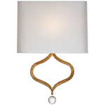 Heart Sconce in Gilded Iron with Natural Percale Shade - Decolight Ltd